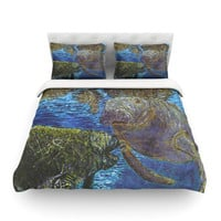"David Joyner ""Manatees"" Blue Green Cotton Duvet"