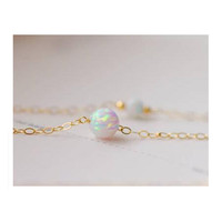 "YAN & LEI Hot Sale Opal Choker Pendant Necklace The ""Inspire"" White Opal 14k Gold Ball Chain Necklace - Choker"