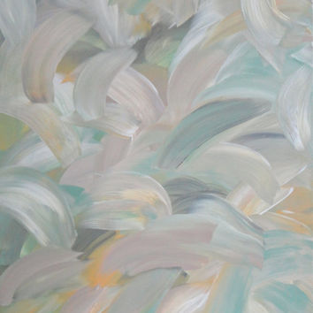 Tropic Dreaming I Original Painting Abstract Artwork Green Gray Yellow Pink 16x20 Ready to Hang
