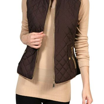 Casual Zip Up Lightweight Quilted Padded Barbor Vest Jacket