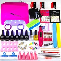 2018 UV LED Nail Lamp Manicure Set 6 Color UV Gel Polish Nail Kits Manicure Pedicure Set with Extension Gel Nail Art Tools Kits