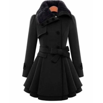 BELTED DOUBLE BREASTED PEACOAT WITH TURN-DOWN FAUX FUR COLLAR