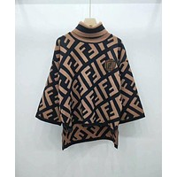 Fendi turtle neck logo jacquard wool blend poncho