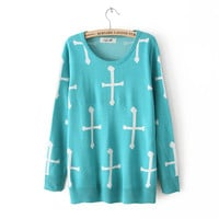Cross Pattern Pullover Sweater