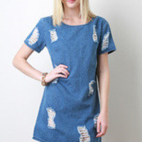 Women's Vintage Distress Denim Dress - Size S