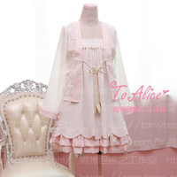 Super Cute Sakura Theme Chinese RUQUN Style Layers Bubble Dress 2PCS Set Chiffon Soft White & Pink Lolita Dress