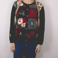 Vintage Poinsetta Ugly Christmas Sweater