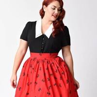Hell Bunny Plus Size 1940s Black & Ivory Collar Button Up Olsen Blouse