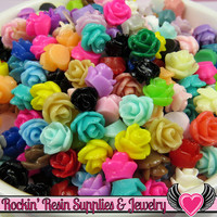 7mm Resin Rose FLOWER CABOCHONS Mixed