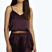 Layla Plum Crop Vest and Short Night Set