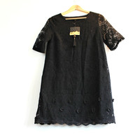 Black Lace Dress Goth Cocktail dress Short sleeve dress Black wedding dress  Prom dress Formal dress Evening dress