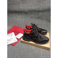 Christian* Louboutin  *   C*L Men Fashion Boots fashionable Casual leather Breathable Sneakers Running Shoes