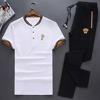 Versace 2018 new summer suit trend short-sleeved trousers two-piece suit F0668-1 White