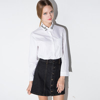 Casual White Letter Embroidered Doll Collar Long Sleeve Blouse