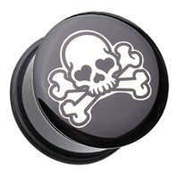 Pirate Emo Skull Single Flared Ear Gauge Plug