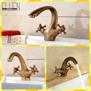 Antique Faucet Bronze Brushed Sink Faucet Roma Style Vintage Basin Sink Mixer Cozinha