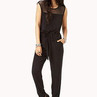 Street-Chic Mesh-Trimmed Jumpsuit