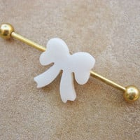 Industrial Barbell Piercing- Gold Titanium Bar White Shell Bow Stud Earring Jewelry