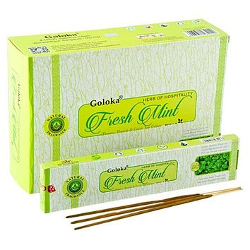 Goloka Fresh Mint Incense - 15 Gram Pack (12 Packs Per Box)