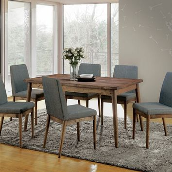 7 pc Eindride collection mid century modern style natural tone finish wood dining table set
