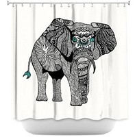 Shower Curtain Artistic Designer from DiaNoche Designs Stylish, Decorative, Unique, Cool, Fun, Funky Bathroom - One Tribal Elephant