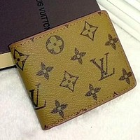 LV Louis Vuitton Stylish Ladies Men Leather Print Handbag Purse Wallet Yellow I