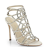 Sergio Rossi - Puzzle Swarovski Crystal & Satin Cage Sandals - Saks Fifth Avenue Mobile