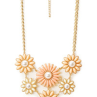 FOREVER 21 Heirloom Floral Bib Necklace Peach/Gold One