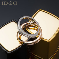 Jewelry New Arrival Gift Shiny Stylish Strong Character Double-layered Diamonds Korean Crystal Couple Ring [4989622468]