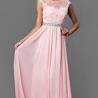 Embroidered Lace Sheer Top Long Prom Dress