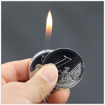Fashion Creative Mini Coin Shaped Butane Flame Lighter Metal Torch Lighter Novelty Gadget Gift Key Accessories NO GAS With Box