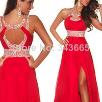 2014 prom dresses sexy red chiffon long dress with high slit and beadings cheap under 100 free shipping all over the world-in Prom Dresses from Apparel & Accessories on Aliexpress.com