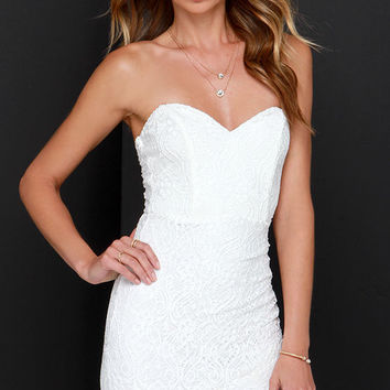 Hey There Gorgeous Ivory Strapless Lace Dress