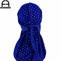 Fashion Men's Sparkly Velvet Durags Bandanas Turban Headband Stitching Outside Men DuRag Waves Cap Turban Hat Hair Accessories