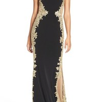JVN by Jovani Mixed Media Column Gown | Nordstrom