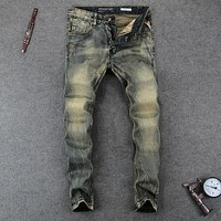 Italian Vintage Designer Men Jeans Slim Fit Denim