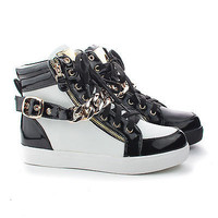 Sneaker25 Lace Up Chain Ankle Buckle Strap Fashion Women's Sneakers