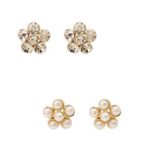 FOREVER 21 Flower Stud Set Clear/Cream One