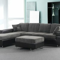 2 pc Korey collection two tone olive chenille and coffee vinyl upholstered sectional sofa set with chrome legs