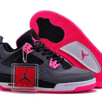 Air Jordan 4 Retro AJ4 Black/Gray/Pinke Women Sneaker US Size 5.5-8.5