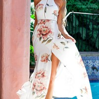 Good Luck Girl Sleeveless Halter White Pink Rose Embroidery Pattern Cut Out Backless High Slit Maxi Casual Dress