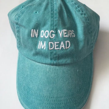 In dog years im dead washed out aqua baseball cap 100% cotton pinterest instagram tumblr
