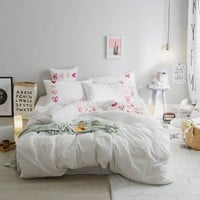 4Pcs washed Cotton white Bed Set Luxury Bedding Sets King Size Queen twin double Bed Set Duvet Cover Bed Sheet gifts
