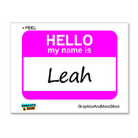 Leah Hello My Name Is Sticker