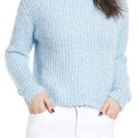 Love by Design Eyelash Chenille Distressed Sweater | Nordstrom