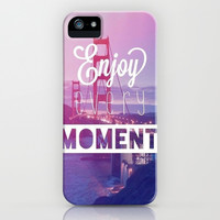 Enjoy Every Moment iPhone & iPod Case by Pink Berry Pattern