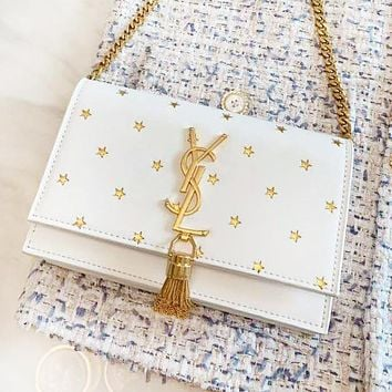YSL Fashion New Embroidery Star Leather Shopping Leisure Shoulder Bag Women White