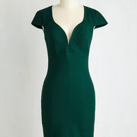 Pinup Mid-length Short Sleeves Sheath For a Good Cosmo Dress in Forest Green