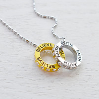 Ring Circle Charm Necklace,Couples Necklace,Believe,Have Faith,Motivation Necklace,Christmas Gift,Two Circles Necklace,Letter Necklace
