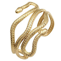 Gold Plated Q&Q Fashion® Chic Egypt Cleopatra Swirl Snake Arm Cuff Armlet Armband Open Bangle Bracelet